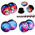 4pairs Acrylic Ear Plugs Earlet Gagues Flesh Tunnel Skin Epxander Starry Sky