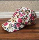 Pink  Cream Floral Sequined Adjustable Velcro Womens Baseball Hat Cap NWOT