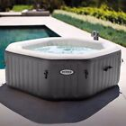 Outdoor Backyard PureSpa Intex Octagonal 120 Bubble Jets 4 Person Round New
