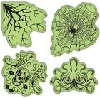 Inkadinkado Skull Spider Halloween Haunts Inspired Images Set Cling Rubber Stamp