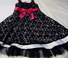 EMILY WEST GIRLS 8 BLACK LACE LINED PARTY DRESS PINK TRIM FULL SKIRT HOLIDAY