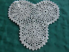 SMALL BEIGE HAND CROCHET LACE DOILY IN A FLOWER PATTERN CIRCA 1940