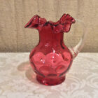 Fenton for L G Wright Cranberry Glass Coin Dot Vintage 55 Inch Pitcher