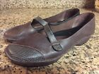 Womens Size 9M CLARKS Mary Jane Brown Leather Very cute pair
