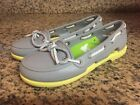 CROCS Womens 4 Bright Yellow  Grey Beach Line Rubber BOAT SHOES Loafers Flats