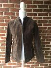 Womens Ruff Hewn Chocolate Brown Genuine Leather Jacket Coat Size M