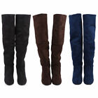 Fashion Women Ladies Flat Low Heel Knee Height Thigh High Stretch Suede Boots