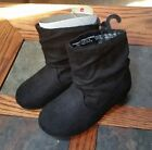 Toddler Girls Faded Glory Black Faux Suede Pull On Boots Size 8