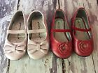Lot Of 2 Baby Toddler Girl Ballet Flats Shoes Size 5  6 Pink  Red