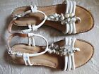 Clarks Bendables White Leather Ankle Strap Beaded Sandals Size 10 M