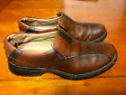 Mens Clarks Brown Leather Slip On Loafers 95 M Work Casual Dress
