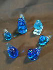 Glass Blue Birds of Happiness Etched Signed