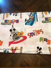 Vintage Disney Mickey Mouse Twin Flat Sheet Minnie Donald Hanging Around Fabric