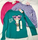 Lot 3 Girls Childrens Shirts Purple Polka Dots Pink Graphic Teal White S 6 6X