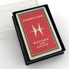 NOS VINTAGE HAMILTON WATCH ADVERTISING PLAYING CARDS DECK, SEALED, BOX, GILT