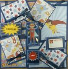Premade Scrapbook Page Embellishment Kit SEWN 12 pieces Super Hero