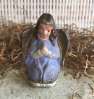 Antique Vintage Miniature Bisque Nativity Angel in Purple Robe Figurine 2 Tall