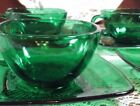 's Fire King Cup and Saucer Set. Charm in Forest Green by Anchor Hocking.