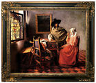 Vermeer The glass of wine Framed Canvas Print Repro 20x24