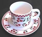 Oneida Majesticware 'Cherries Jubilee' Cup/Saucer Set by Leslie Beck-Free Ship!