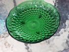 Green Glass Footed Candy Dish Teardrop Embossed Scalloped Edge Vtg Mid Century