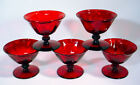 5 Vintage RUBY RED Glass FOOTED SHERBET Low STEM CUP Set FENTON Viking ROYAL Old