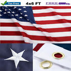American Flag Made In Usa Stars Embroidered Stripes Sewn Brass Grommets Nylon
