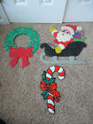 Vintage Christmas Melted Plastic Popcorn Santa on Sleigh Candy Cane Wreath