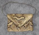 SNAKESKIN Purse Vintage Snap Flat Snake Skin Python Bag Clutch Beige Tan Black