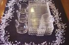 Vtg Orchard Crystal Snack Set of 4 Glass Tray Cup lunch plates free xtras