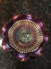 Northwood Stippled Rays Purple Carnival Glass Bowl