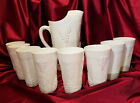 Vintage Colony Harvest Milk Glass Pitcher and 8 Tumblers (circa 1960s)