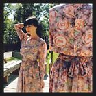 Vintage Tokyo Floral Dress Small/Medium Tea Church Boho Cocktail Casual Retro