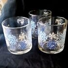 Blue Holiday Glass Cup/ Mug USA Lot /3
