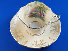 Vintage Aynsley Bone China Tea Cup and Saucer Birch Trees  Garden Cream  Gold