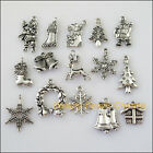15Pcs Antiqued Silver Tone DIY/ Christams Mixed Charms Pendants