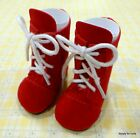RED SUEDE Lace Up Tall DOLL BOOTS SHOES fits American Girl 145 WELLIE WISHERS