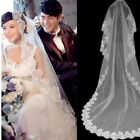 Ivory 3M Long 1 Layer Lace Edge Vintage Cathedral Wedding Elegant Bridal Veil US