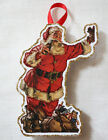 Glittered Wooden Christmas Ornament Santa Claus Vintage Card Image Handmade