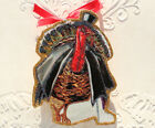 Glittered Wooden Thanksgiving Ornament Turkey in Top Hat Vintage Card Image