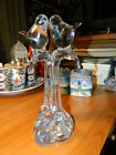 Clear Glass Crystal Love Birds In A Tree W Baby Birds Signed On Bottom