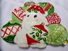 FITZ & FLOYD Holiday CHRISTMAS BUNNY BLOOMS Rabbits CANAPE PLATE Excellent RARE!