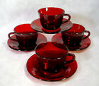 4 Vintage ROYAL RUBY Red Glass CUP SAUCER Set LOT Anchor Hocking TEA COFFEE Mugs