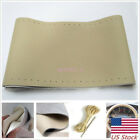 Steering Wheel Grip Genuine Leather Hand-Sewn Cover Non-Slip Needle Thread Beige