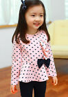 Toddler Infant Baby Girls Dots Print Clothes Bow Top T shirt +Pants Outfits Set