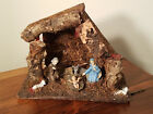 VINTAGE NATIVITY SCENE CHRISTMAS PLASTIC FIGURINES W WOOD MANGER MARKED