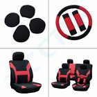 Car Seat Cover w Headrest Steering Wheel Belt Pad Red + Black For Nissan