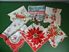Lot of 6 Vintage Christmas Hankies Handkerchiefs Santa Ponsetias Wreath Ornament