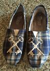 TOMS Embroidered Key Plaid Slip On Shoes Flats Womens Size 8