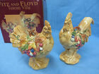 Fitz and Floyd Tuscan Villa Roosters Salt and Pepper Shakers NIB